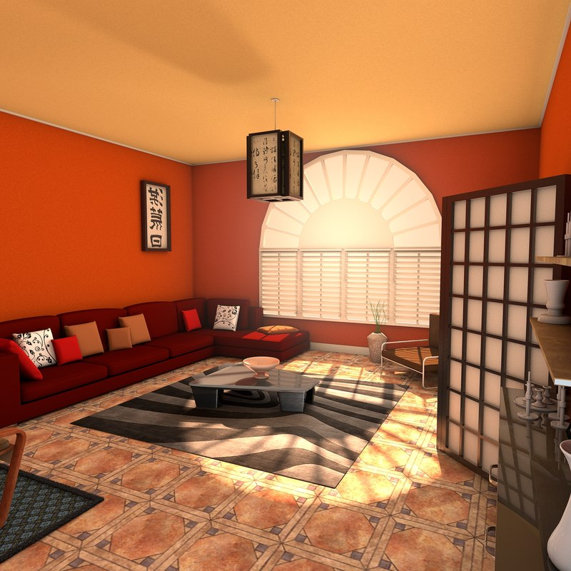 3d model designs living zen room for Living room zen design
