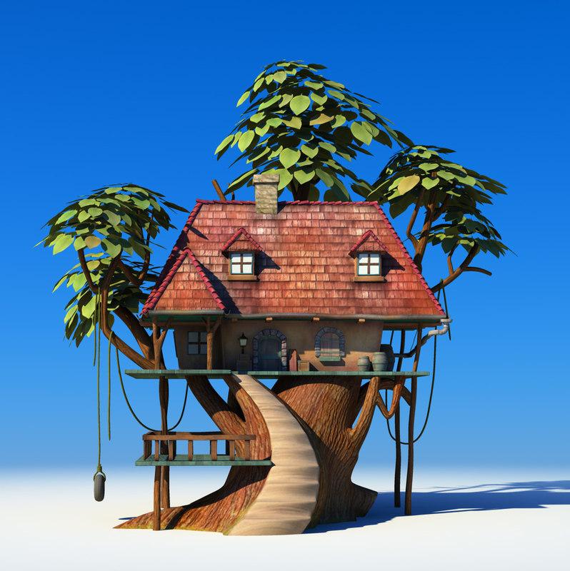 Maya cartoon tree house