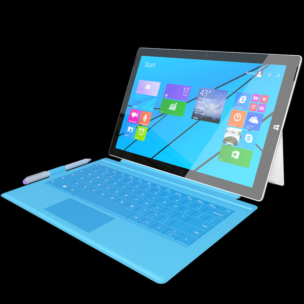 Microsoft Surface Pro 3 + Touch Cover 3D Models