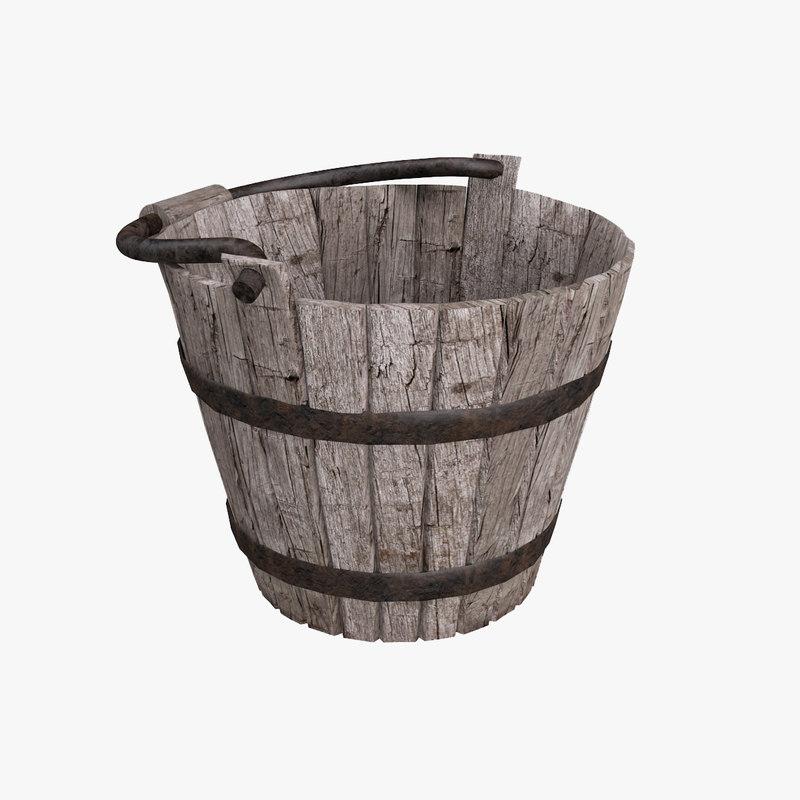 3d model old wooden bucket