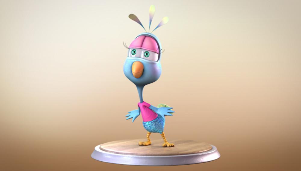 Maya Peacock cartoon character rigged