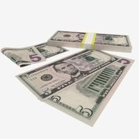 five dollar bill 3D models