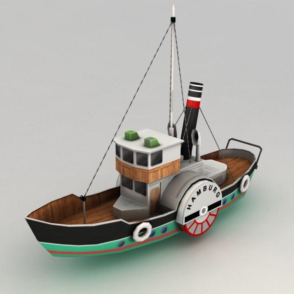 Paddle Steamer Boat 2 3D Models