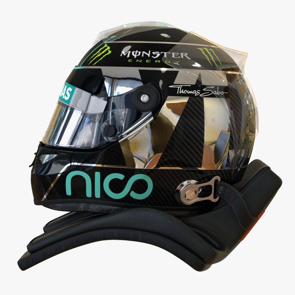 Nico Rosberg 2014 style Racing helmet 3D Models