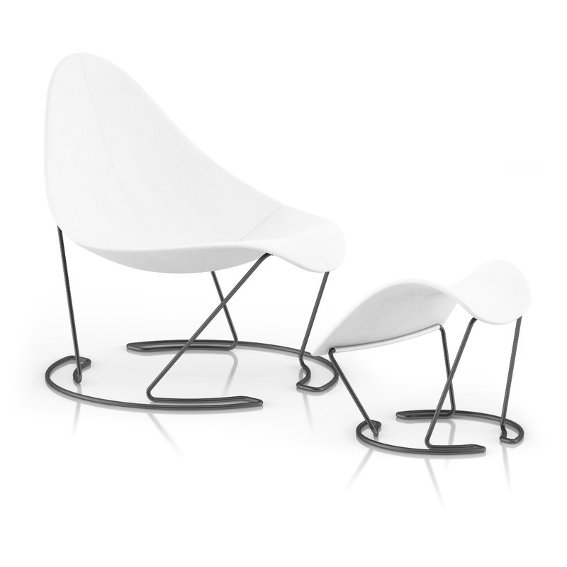 White Lounge Chair with Footrest