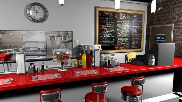 Cartoon Diner 3D Models