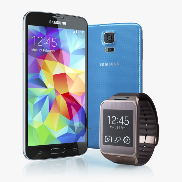 Samsung GALAXY S5 and Samsung Gear 2 3D Models