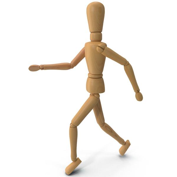 Wooden Mannequin Running 3D Models