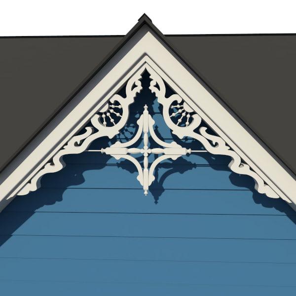 Decorative gable 3d model for Victorian gable decorations