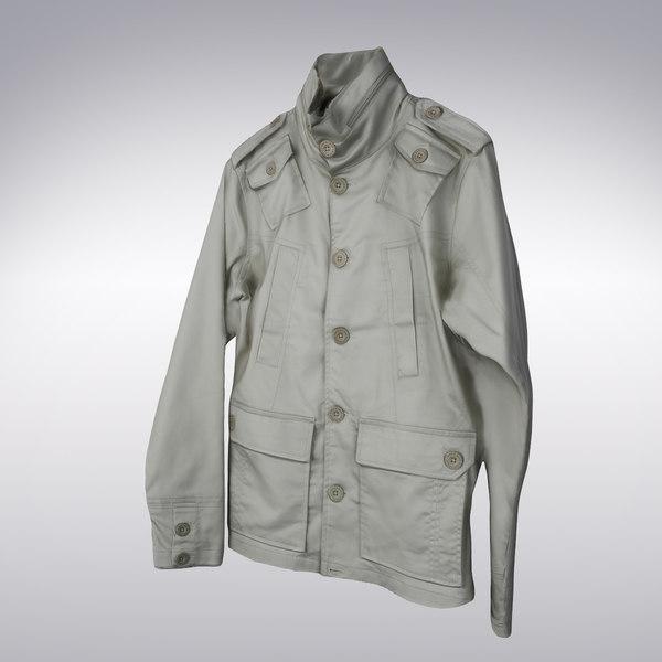 Men's Trench Coat White - 3D Scanned 3D Models