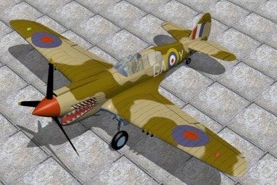 Curtis P40E Kittyhawk 3D Models