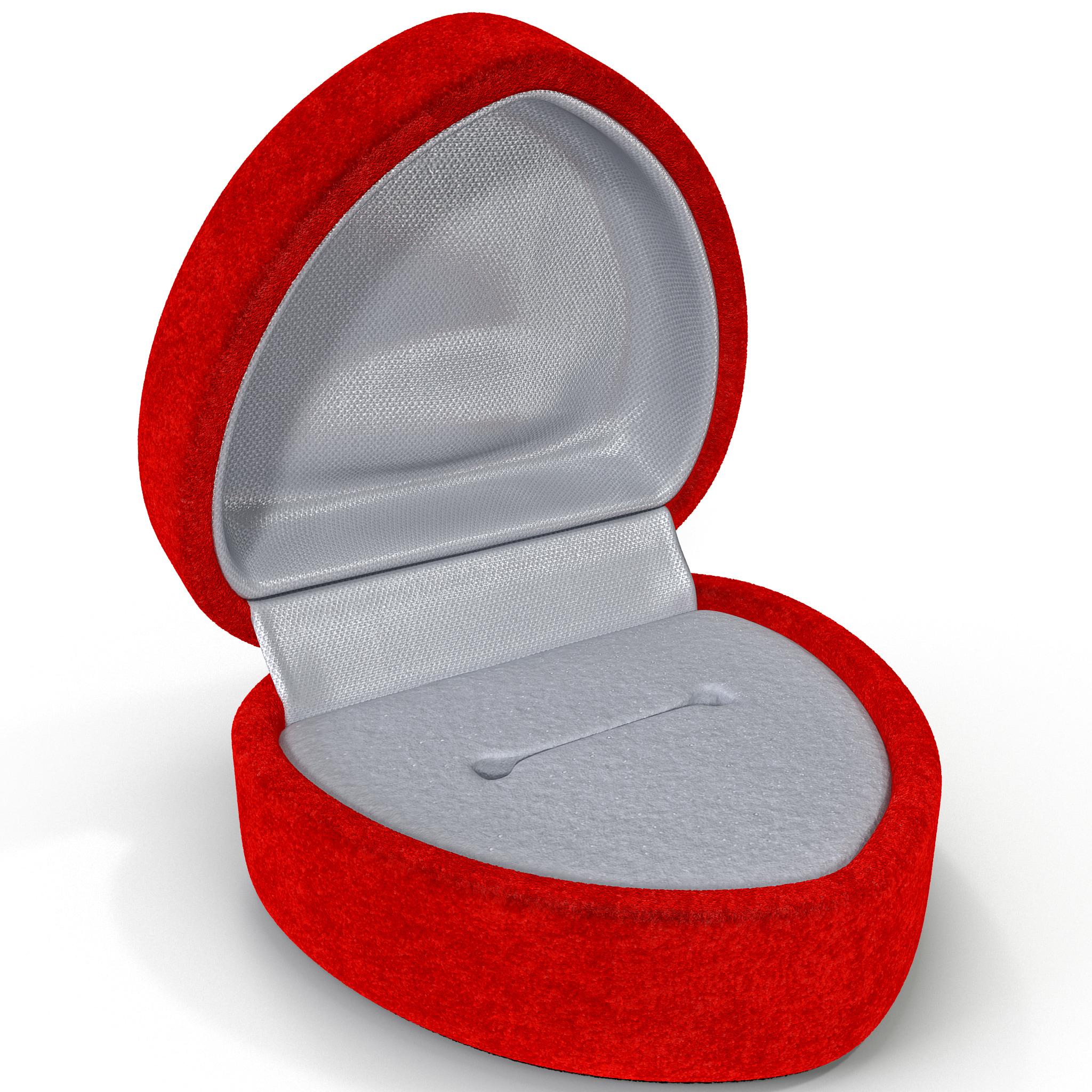 3d model red velvet heart ring for Heart ring box