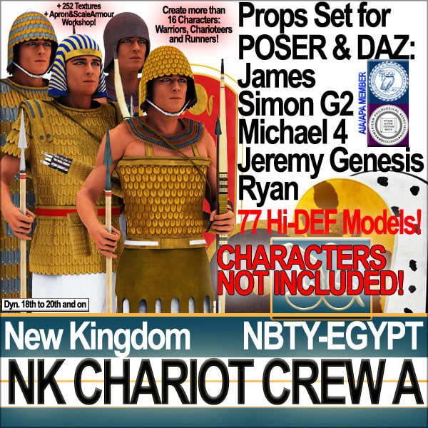 Props Set Poser Daz for Ancient Egypt War Chariot Crew NK A