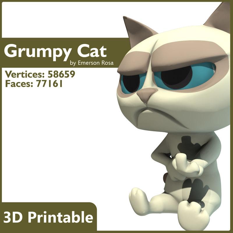3D Printable - Cartoon Grumpy Cat