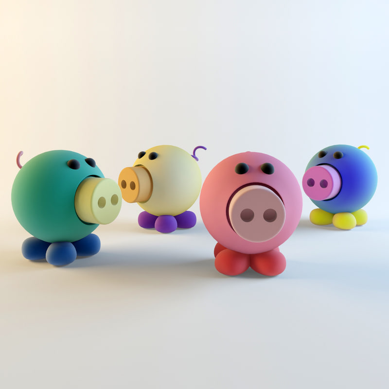 Piggy Toy -Somewhere City - Oink Le Rouge