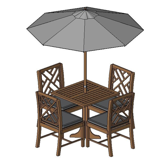 Revit table and chairs family revit table dining office for Outdoor furniture revit
