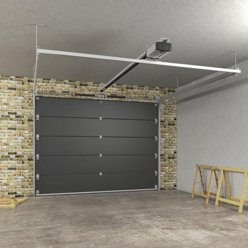 Segmented garage door 3d model for 3d garage builder