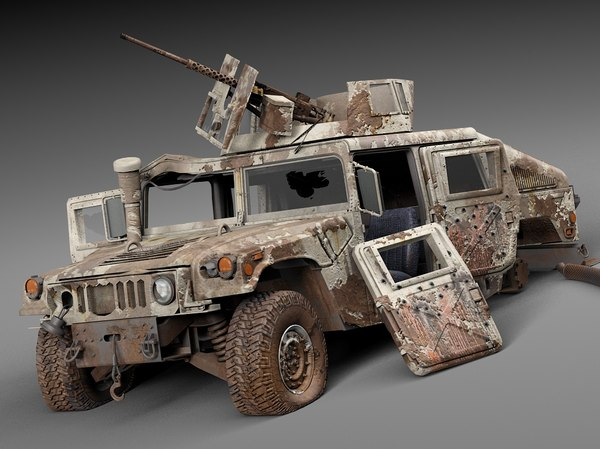 Hummer HMMWV destroyed 3D Models