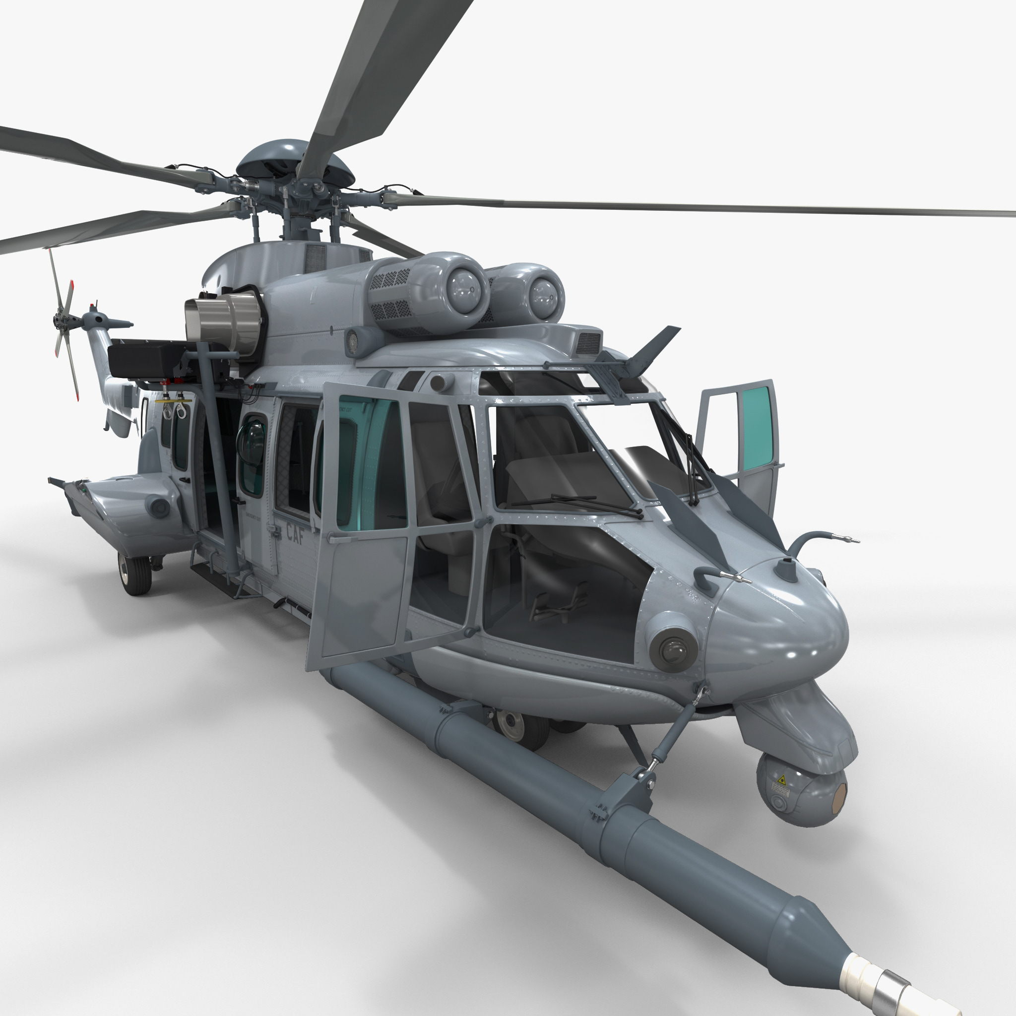 Eurocopter EC725 Caracal Tactical Transport Helicopter Rigged 2