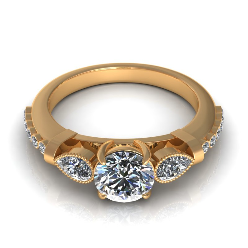 Fluted Pear Diamond Ring