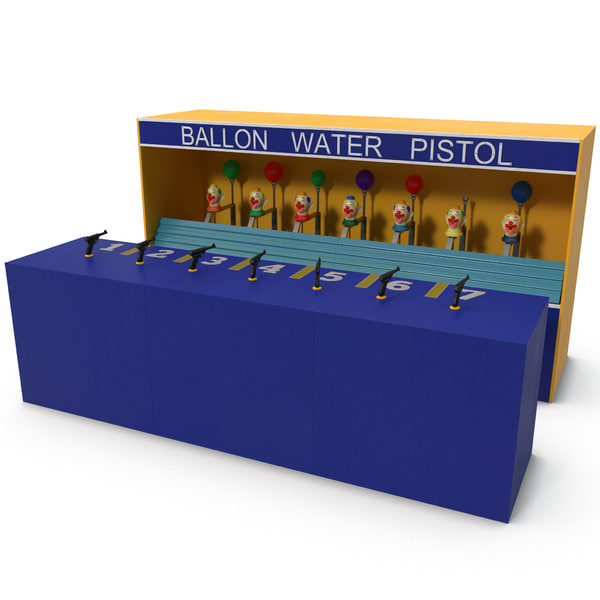 Clown Water Gun Balloon Game 3D Models