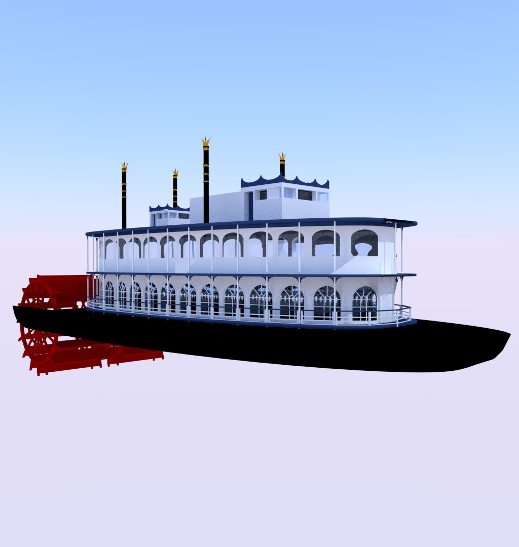 steam boat 2 middle poly