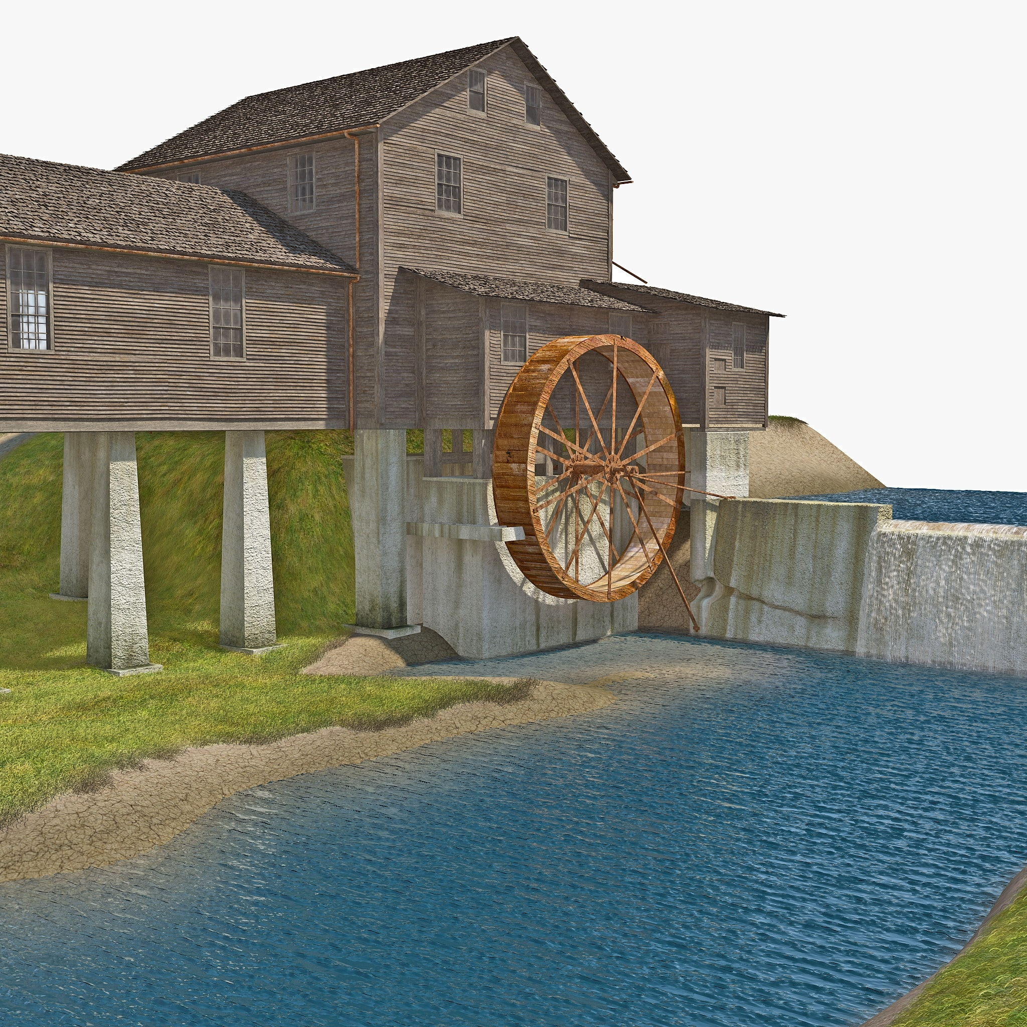 Water Wheel 3d Model Water Wheel Grass 3d Model