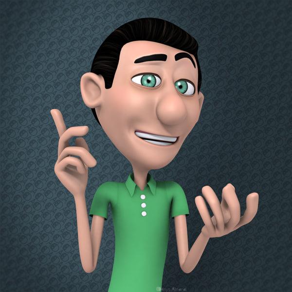 Rigged Cartoon Man Green Guy 3D Models