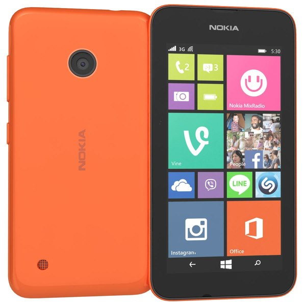 Nokia Lumia 530 Dual SIM Orange 3D Models