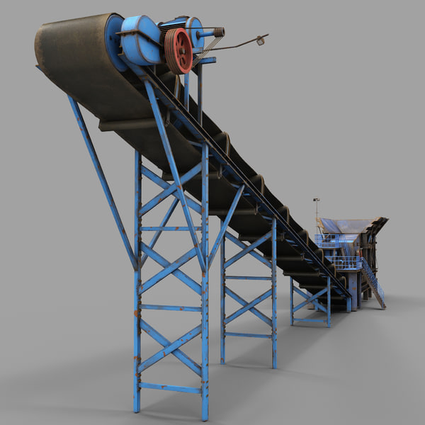 Stone Crusher Machine and Belt Conveyor 3D Models