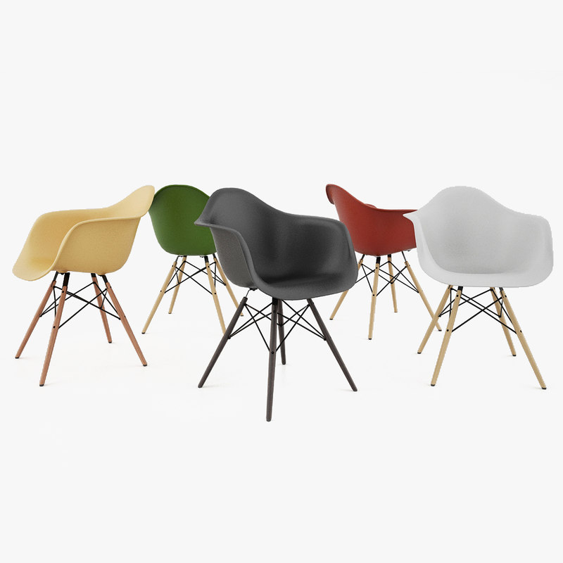 Vitra eames armchair daw 3d model for Eames plastic armchair daw replica