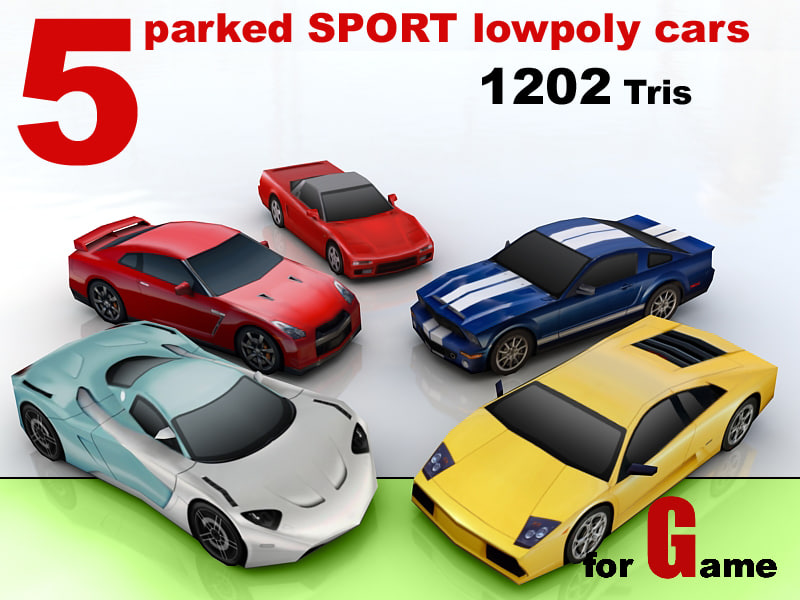 5 parked SPORT lowpoly cars