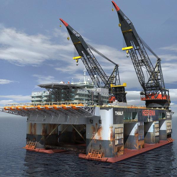 Oil Rig Dual Crane_Vessel (Max format) 3D Models
