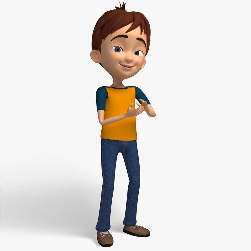 Cartoon Characters Boy : Cartoon character kid d model