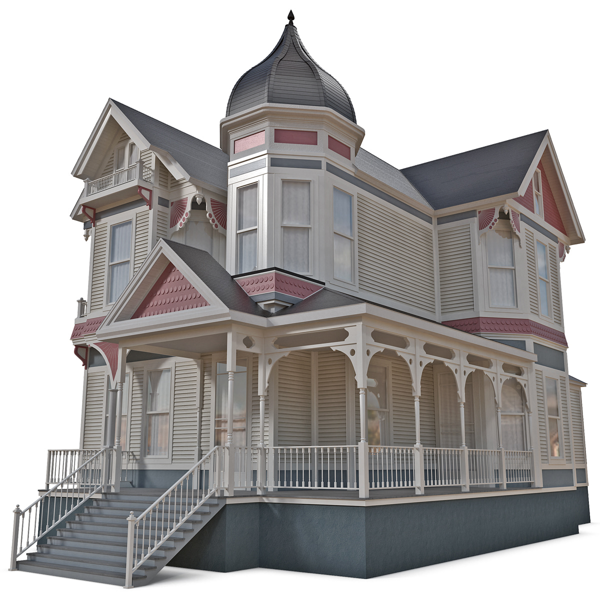 3d victorian house for Minimalist house 3d model