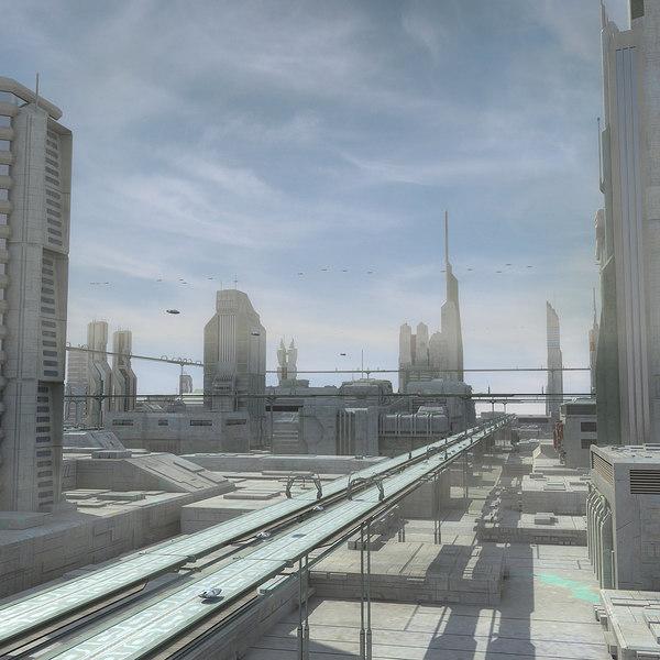 Sci Fi City Futuristic Cityscape 3D Models