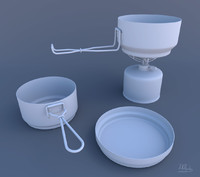 camping dishes and utensils 3D models