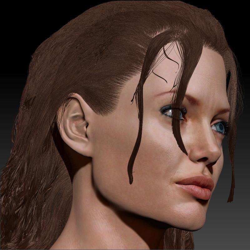 Angelina Jolie Female Head 3d Model