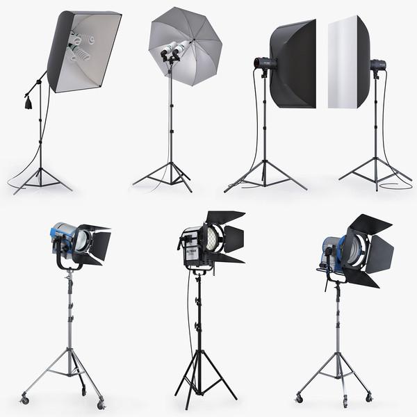 Studio lighting collection 3D Models