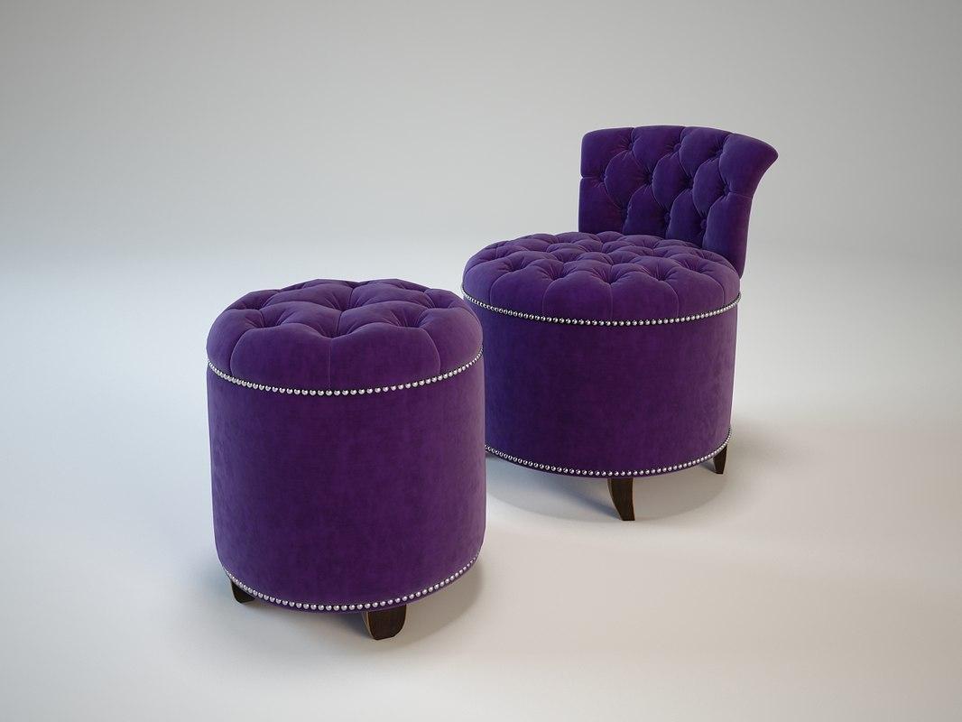 EICHHOLTZ Chair+Stool Greta Garbo
