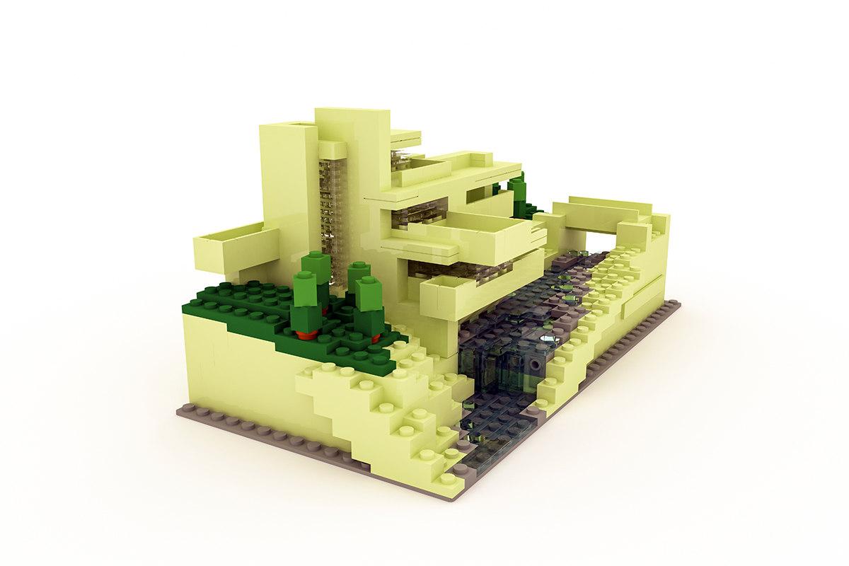 3d model fallingwater lego - Falling waters lego ...