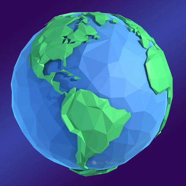 Cartoon Flat Low Poly World 3D Models