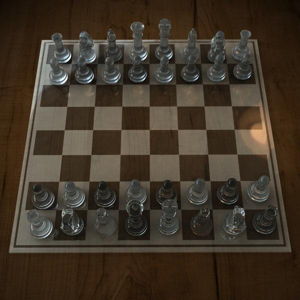 Glass Chess Set 3D Models