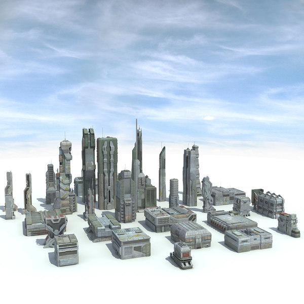 Sci-Fi City 31 HD Buildings 3D Models