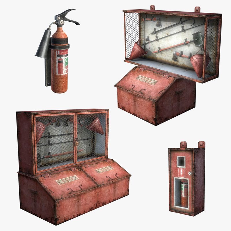 Fire Extinguisher Set (Low Poly)