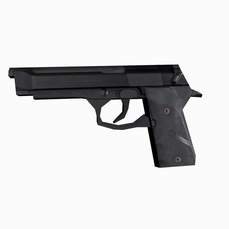 Beretta pistol low-poly