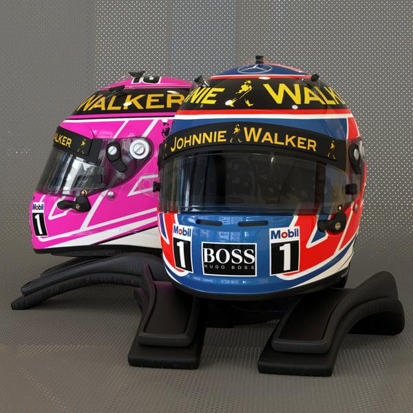 Jenson Button 2014 style Racing helmet 3D Models