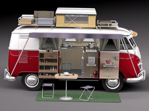 Volkswagen Camper Van 1950 Open 3D Models