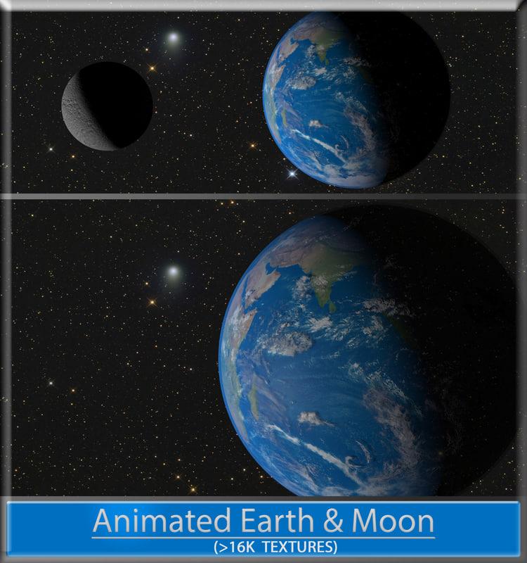 Animated Earth & Moon