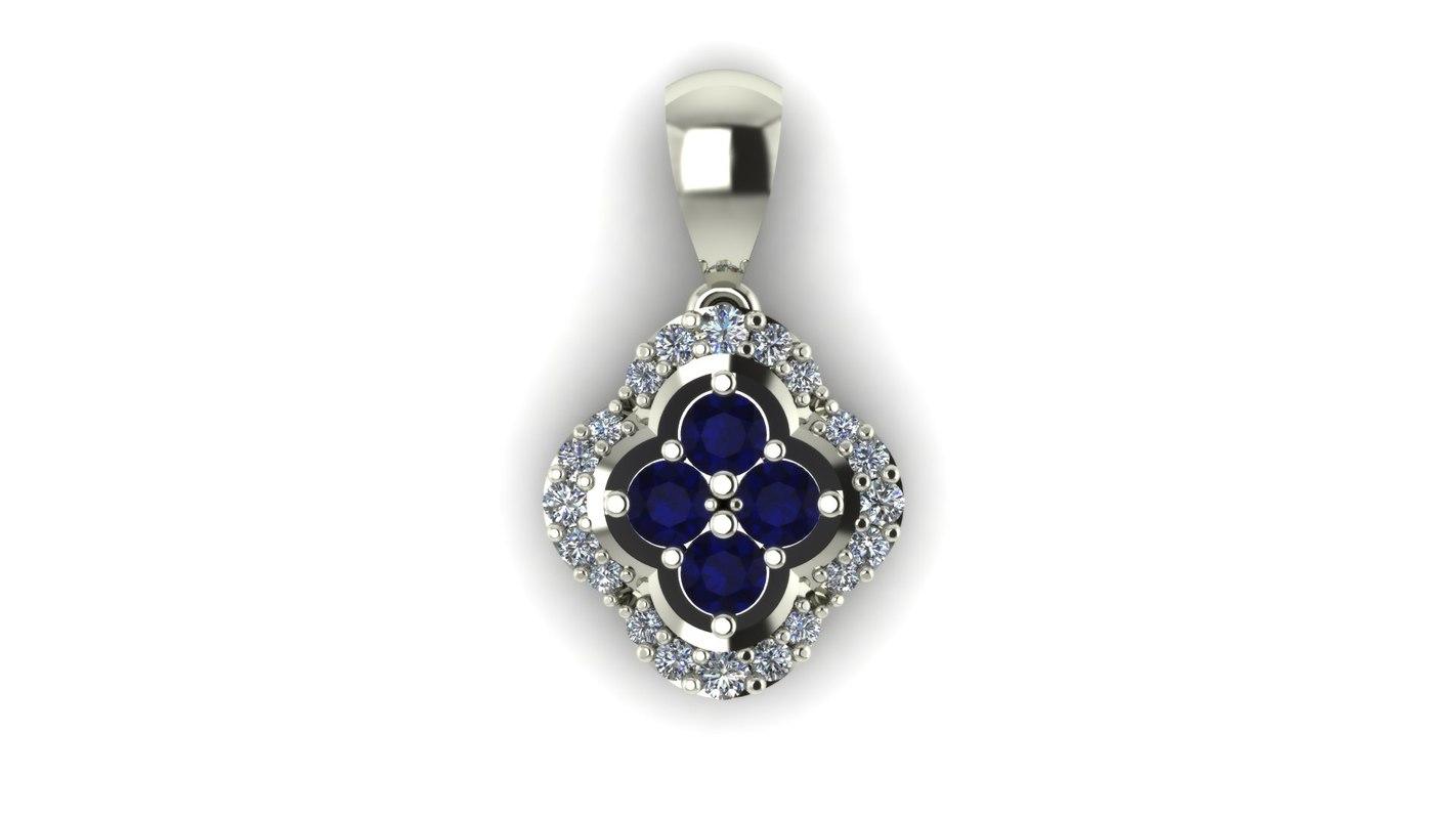 Four-Stone Gemstone and Diamond Pendant